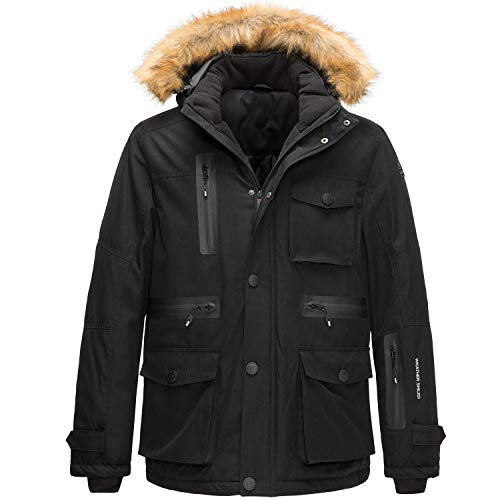 SwissWell Parka para Mujer Chaqueta de Invierno cálida con Capucha Fliegerparka Sherpa Coat Chaqueta de esquí Resistente al Viento Impermeable Transpirable con Capucha de Piel Desmontable Negro S