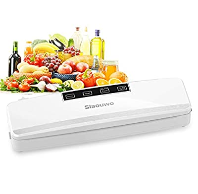 Vacuum Sealer Machine, Slaouwo Automatic Food Saver Machine, Compact Food Sealer Vacuum For Food Preservation, Dry & Moist Food Modes, Patented Cutter, Led Indicator Light, Roll Vacuum Bags