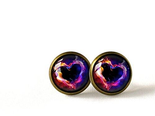 Ohrstecker in Herzform, flammendes Herz, bronzefarben
