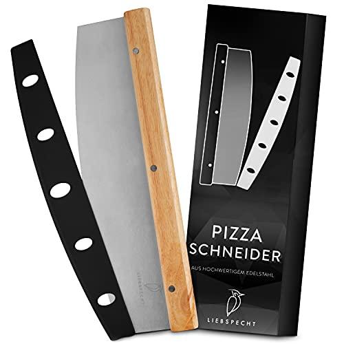 Liebspecht® Hochwertiger Pizzaschneider - Premium Pizza Wiegemesser aus Edelstahl mit Holzgriff - scharfes Pizzamesser mit 35cm Klinge - Blitzschneller, sauberer Schnitt - Inklusive Klingenschutz