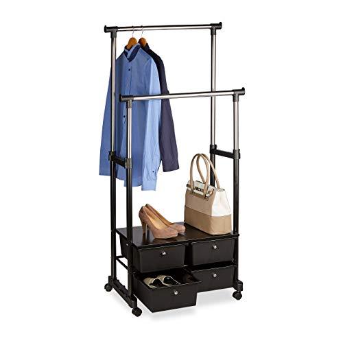 Relaxdays Kleiderständer auf Rollen, stabil, 4 Schubladen, Ablage, 2 Kleiderstangen, höhenverstellbar, Metall, schwarz