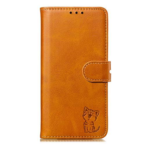 iphone12promax ケース 手帳型 6.7インチ アイフォン 12 pro max 手帳型カバー 猫 おしゃれ かわいい キャラクター ねこ 動物柄 ライトブラウン 保護ケース 滑らかな表面 耐衝撃 ネコ 財布型 スマホケース 合皮PUレザー カード収納 マグネット スタンド 機能 黄褐色 手帳型 スマホカバー 12ProMax (6.7インチ)