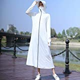 Irfora - Giacca parasole da donna, con visiera grande, tasche con zip UPF 50+, lungo con cappuccio e cappuccio