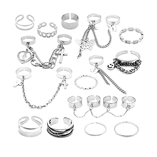 Gothic Punk Chain Finger Rings Set, 17PCS Adjustable Stackable Vintage Silver Emo Rings for Women Men Girls ,Smiley Cross Butterfly Knuckle Rings (Silver)