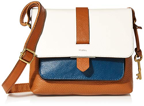 Fossil Women's Kinley Leather Small Crossbody Handbag, Blue/White Colorblock