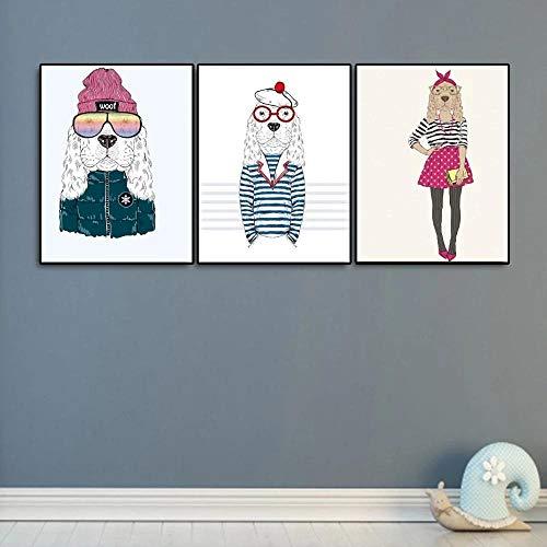 Blanco y negro con clase abstracto perro alce ovejas arte de la pared carteles e impresiones animal con un sombrero lienzo pintura decoración del hogar 40x60cmx3 sin marco