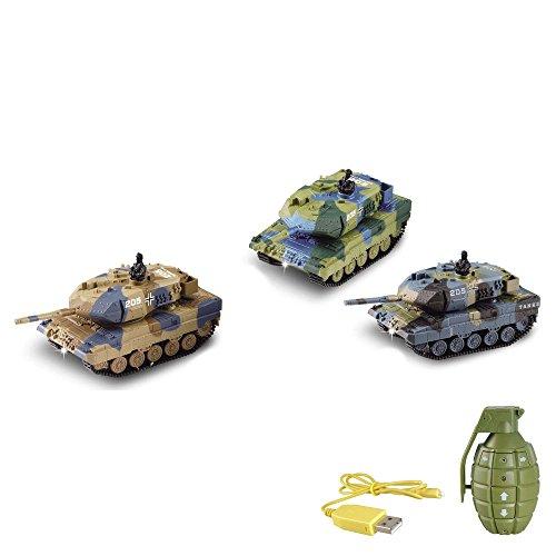 HSP Himoto German Leopard 2A6 - RC Mini Ferngesteuerter Panzer mit Schusssimulation Sound, Beleuchtung, 1:77 Modell-Maßstab, Komplett-Set inkl. Fernsteuerung