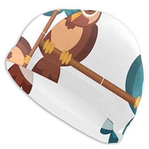 Quintion Robeson Gorro de natación Bicolor de Dos búhos Gorro de baño de señora, Gorro de baño de poliéster de niña Adolescente Adulta de Personalidad
