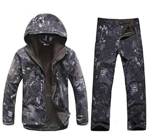 Men Outdoor Veste Softshell imperméable Costume Camouflage Militaire Randonnée Chasse Tactique Fleece Veste et Pantalon Snake Black L