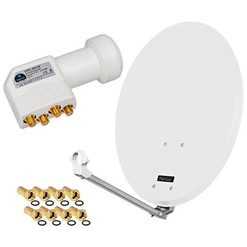 HD Digital SAT Anlage 60cm ALU Spiegel Schüssel Hellgrau+ Quad LNB 4 Teilnehmer zum Empfang von DVB-S/S2 Full HD 3D 4K Ultra HD (UHD) Signale + Stecker Gratis dazu im Set