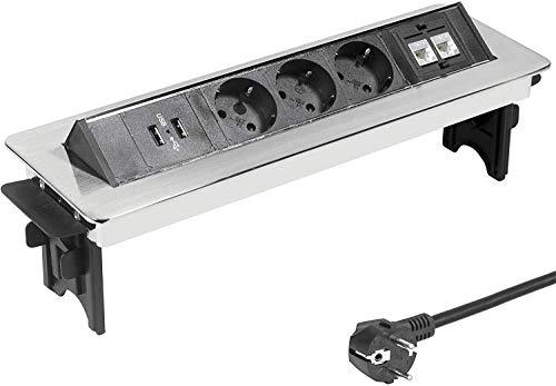 Elbe Inno Versenkbare Tischsteckdose 2xUSB, 3 Fach Steckdosenleiste mit 2xRJ45 Netzwerkdose, Einbausteckdose, Kindersicherung, verchromte Optik, Halbautomatischer Deckel, 1,5m Kabel, für Büro