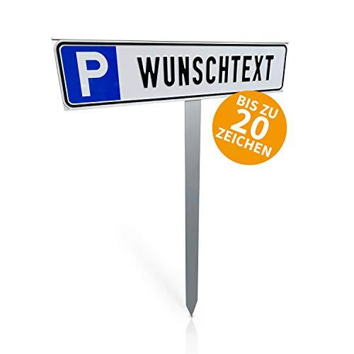 Betriebsausstattung24® Individuelles Parkplatzschild mit Einschlagpfosten | Parkplatzkennzeichnung mit Wunschtext | Pfosten zum Einbetonieren | Aluminium | 52x11 cm