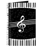 CafePress Stylish Designer Piano and Music Notes Spiral Bound Journal Notebook, Personal Diary, Lined