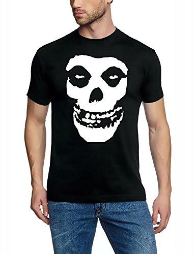 Coole-Fun-T-Shirts The Misfits – Pression Avant + arrière – Tshirt – Noir sérigraphie, T-Shirt Small Noir