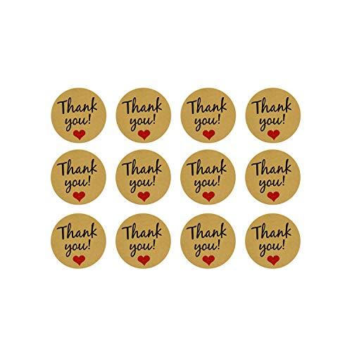 Oblique Unique® 12 Thank You! Danke Sticker mit Herz Aufkleber zum Danke Sagen für Hochzeit Jugendweihe Konfirmation Gastgeschenk Geschenkdeko Danksagung