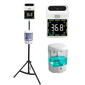 QZH Termometro A Infrarossi Hand Sanitizer Dispenser Stand Stand Touchless Forehead Fever Alarm 0.1S Test Rapido Scanner di Temperatura A Parete per Uffici Scanner per Gli Uffici Schools Church