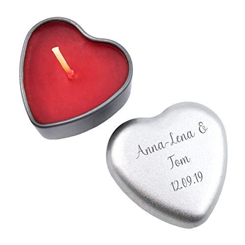 Geschenke.de Personalisierbare Kerze in Herzform mit Gravur - Duftkerze Vanille in rot