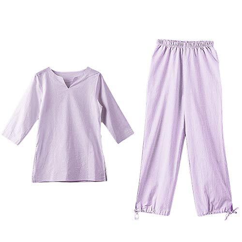 KSUA Tuta da Meditazione Zen delle Donne Tai Chi Uniforme Cinese Kung Fu Abbigliamento in Cotone (Viola, EU M/Etichetta L)
