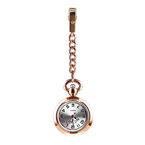 CestMall Reloj Bolsillo Enfermera de Enfermera Reloj con Clip Fob Reloj de Bolsillo Médico Paramédico Reloj de Cuarzo Enfermeras Reloj con Clip Reloj con Clip-Oro Rosa