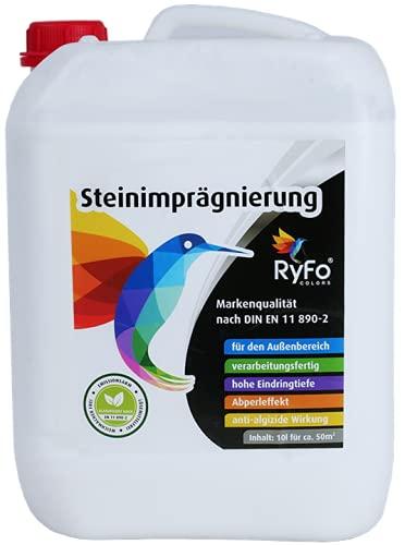RyFo Colors Steinimprägnierung 10l (Größe wählbar) - Stein-Versiegelung, verarbeitungsfertig, Abperleffekt mit Langzeitschutz