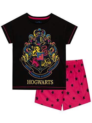 HARRY POTTER Pijamas de Manga Cortapara Niñas Hogwarts Negro 5-6 Años