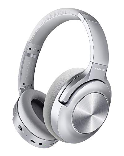Active Noise Cancelling Headphones VANKYO C750 Bluetooth Headphones Over Ear with Microphone Wireless Headset Hi-Fi Stereo Deep Bass with 30H Playtime, for Travel Work TV PC Tablet Cellphones Silver