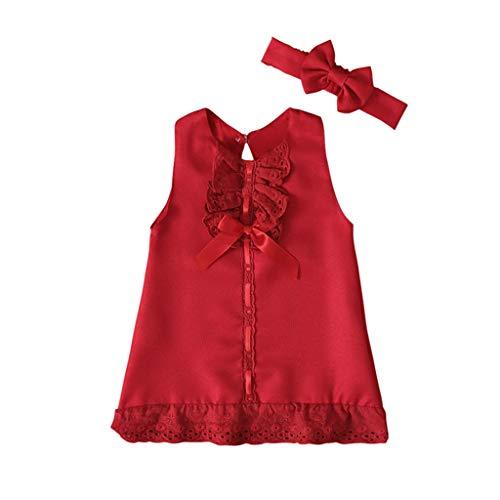 Taurner Bebé ReciéN Nacido NiñA sin Mangas Casual Maxi Vestido sin Mangas con Lazo de Color SóLido Vestido de Tirantes + Diadema Con Arcos Conjunto de Ropa (Rojo, 80)