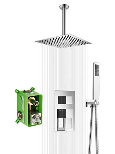 10 Inches Ceiling Rain Shower Head System with Brass Rough-in Valve and Hand Shower, Chrome Finish