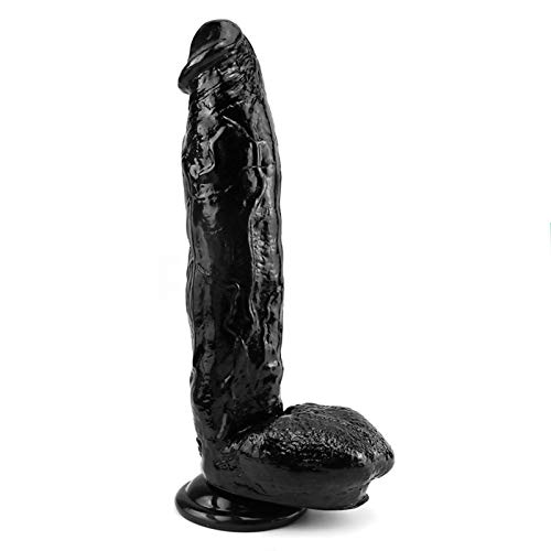 Xiaoshixian Horse Dǐdlo Large Soft Dîldɔ Waterproof Relax Massage Tools Ultra Soft PVC for Women Female Couples, 11.8 inch (Color : Black)