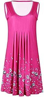 QWERTY Marca Senza Maniche Stampato Il Vestito Allentato delle Donne Europee e Americane Brand:QWERTY (Color : Lavender, S...