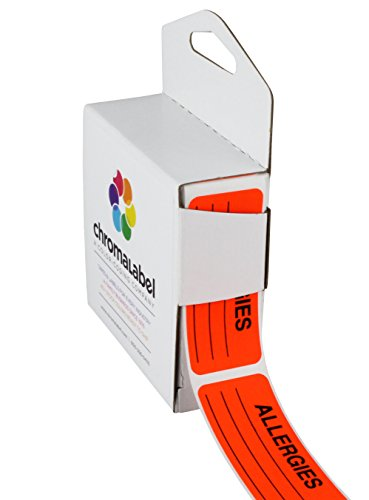 ChromaLabel 1 x 2-1/4 Inch Allergy Labels, 250/Dispenser Box, Fluorescent Red-Orange, Imprinted:Allergies