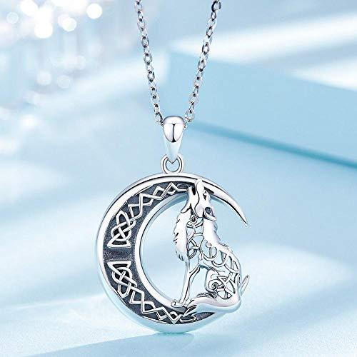 BJGCWY 925 Sterling Sillver Lobo en el Collar de la Luna Símbolo de Collares de Hombres y Mujeres
