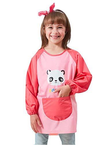 Happy Cherry - Baberos Bebé Impermeable Mangas Largas Babi Infantil para Niños Niñas Delantal Estampado Animal para Comer Pintar Alimentación Blusón Lindo para Guardería Escolar - 4-8 Años