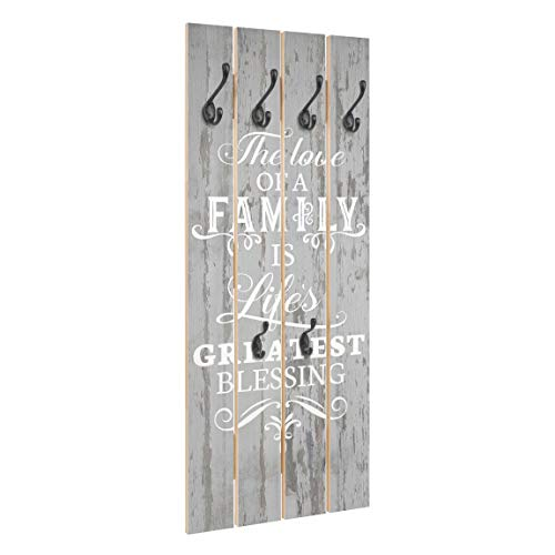 Bilderwelten Wandgarderobe Holz - Shabby Holz - Family is - Haken schwarz, 100x40 cm