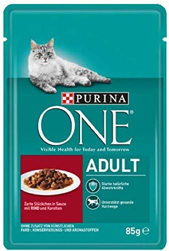 Purina One Adult - Rind in Soße 24 x 85 g Komplettes Nassfutter für ausgewachsene Katzen, enthält Antioxidantien für EIN Starkes Immunsystem und Ballaststoffe für EIN gesundes Verdauungssystem