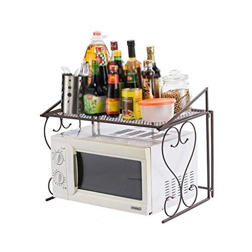 JUNYYANG Estante de la cocina Negro Plataforma de almacenamiento en rack rack de microonda de 2 capas de especias parrilla del horno Grill caja de doble Cocina Almacenamiento (Color: NEGRO, Tamaño: lo