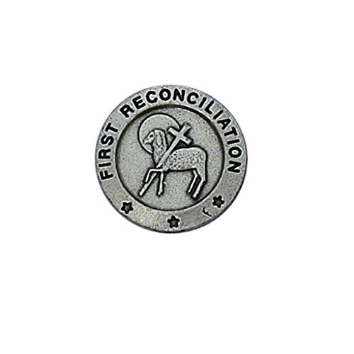 First Reconciliation with Lamb and Cross 3/4-inch Pewter Lapel Pin