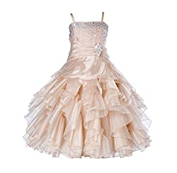 Champagne Rhinestone Organza Layer Flower Girl Dresses