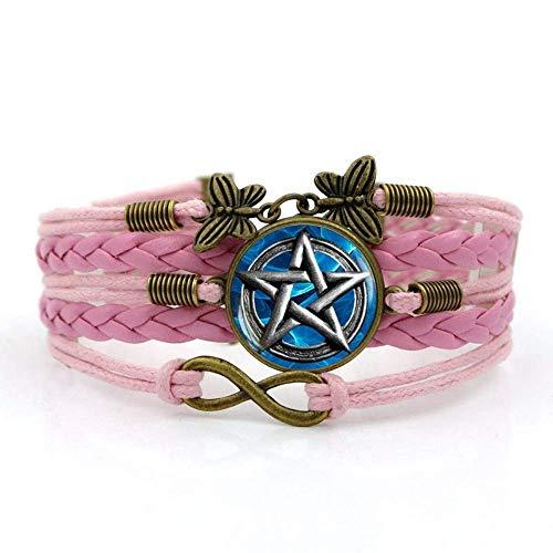 QZH Pulseras para hombre, cuerda rosa, geometría creativa de cinco puntas, pulsera de piedras preciosas de tiempo, varias capas de vidrio tejido a mano, joyería de estilo europeo y americano