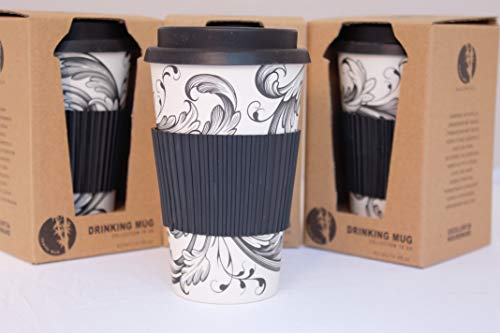 Tesson Bamboo Coffee Cup with Lid, Eco-Friendly Bamboo Tumbler with Lid and Silicone Grip, Reusable 430 ml (Black)