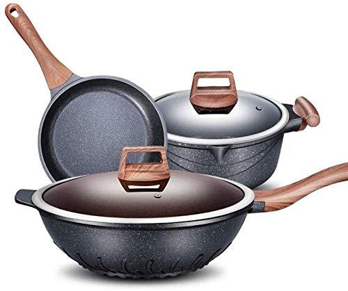 LMDH Conjunto de Utensilios de Cocina de Cocina, Utensilios de Cocina de Cocina Conjuntos woks & Stead-Fry sarteza, macetas y sartenes, macetas antiadherentes y sartenes