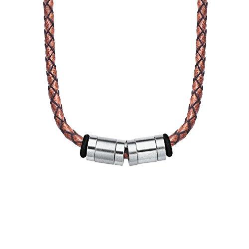 s.Oliver Herren Halskette 47+3cm Edelstahl Lederband geflochten braun