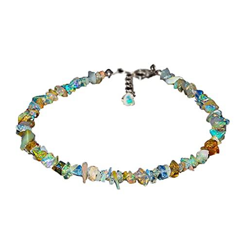 IFGART-19 - Pulsera de piedras de ópalo etíope natural para mujer, cristales de piedra natal curativa, cadena chapada en plata de 8 pulgadas, 2-5 mm