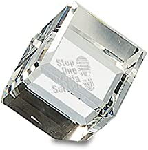 Executive Gift Shoppe   Personalized Cube Paperweight   Solid Crystal Glass   Free Custom Engraving   Beveled Edges   Great for Office, Desk & Home Decor   Flattened Corner for Unique Propped Position