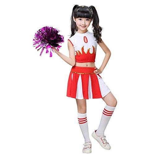 G-Kids meisjes cheerleader kostuum kinderen chefleader uniform carnaval carnaval party Halloween kostuum met 2 pompoms sokken