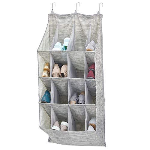 mDesign Schoenenorganizer — Overdekte schoenenrek met 16 vakken voor schoenen, tassen, riemen en meer — Hangende schoenenrek voor slaapkamers — Beige/Grijs
