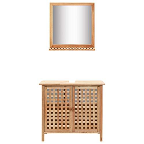 vidaXL Nogal Mueble Baño para Lavabo Espejo con Repisa Láminas Incluido Armario...