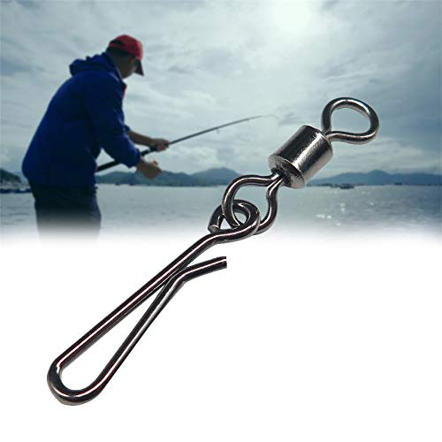 Angelwirbel,Wirbelsortiment Angeln Snaps zum Spinnangeln, Vorfachwirbel Einhänger zum Spinnfischen/Power Wirbel,50 STK Hochwertige Wirbel Set Spinnwirbel (10#)