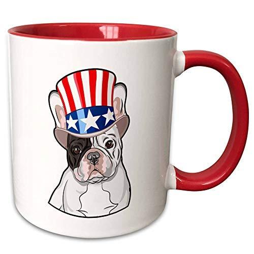 Queen54ferna Patriotische Amerikanische Hunde – Französische Bulldogge mit Top-Hut mit amerikanischer Flagge – 325 ml, zweifarbig rot