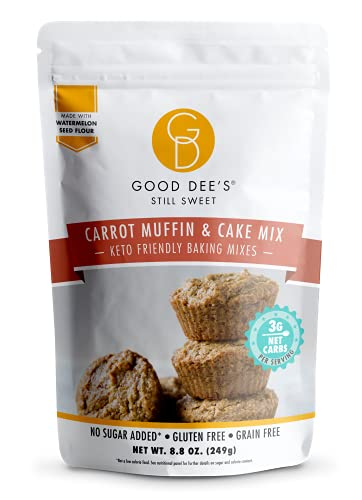 Good Dees Low Carb Baking Mix,Carrot Muffin & Cake Mix, Keto Baking Mix, No Sugar Added, Gluten Free, Dairy-Free, Diabetic (3g Net Carbs, 12 Serving)
